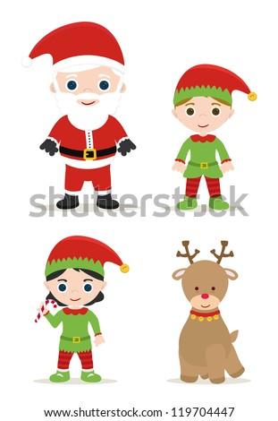 cute xmas set, santa, elves and deer - stock vector