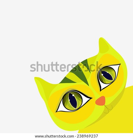 Cute yellow cat in cartoon style looks out from behind a corner. Vector illustration. - stock vector
