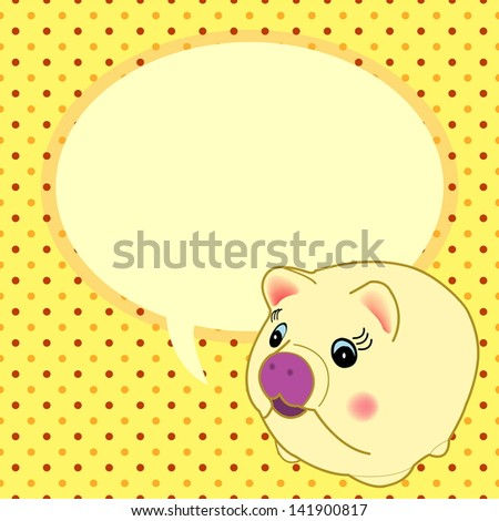 cute  yellow pig with speech bubble vector - stock vector