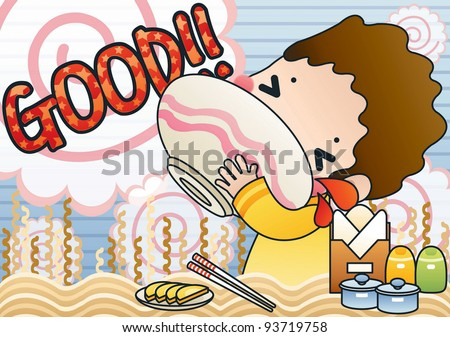 Cute Young Boy with Tasty and Spicy Ramen in a snack bar - background with spiral of 'fish cake' and noodle pattern - stock vector