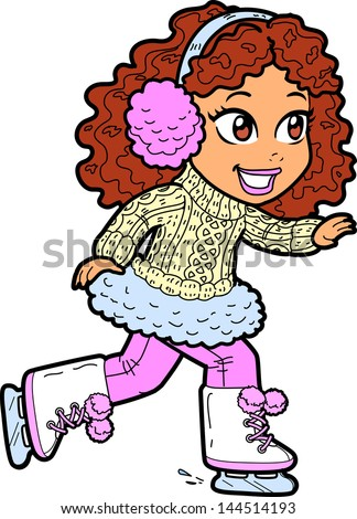 Cute Young Brunette Girl Ice Skating With Earmuffs and Cable Knit Sweater - stock vector