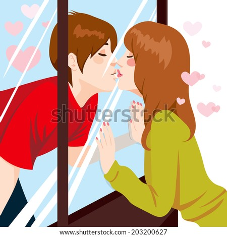 Cute young couple Kissing through glass window with love - stock vector