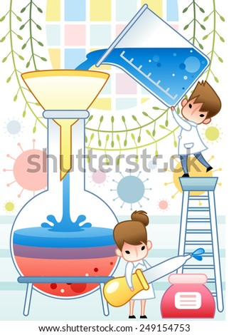 Cute young female and male Scientist examine with laboratory equipment and blue liquid sample in the chemical research lab on white background with green leaves and cell pattern : vector illustration - stock vector