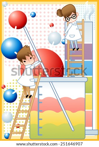 Cute young female and male Scientist examine with laboratory equipment and liquid sample in the chemical research lab on white background with dot and molecule structure pattern  : vector illustration - stock vector