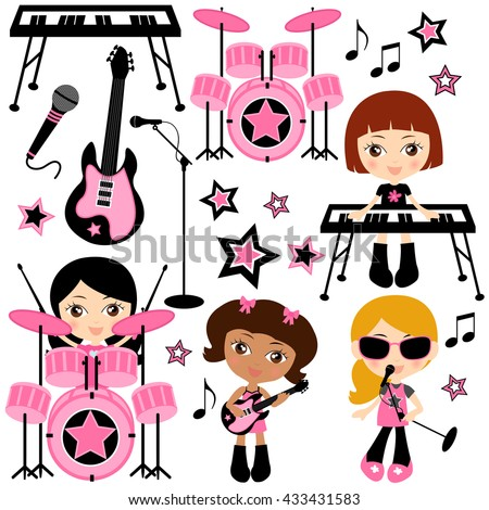 Cute Young Girls Singing and Playing Rock n Roll Music - Girls Rock - stock vector