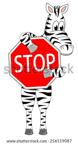 Cute zebra caricature standing and holding up a red sign with text stop. funny cartoon mascot design, vector art image illustration, isolated on white background - stock vector