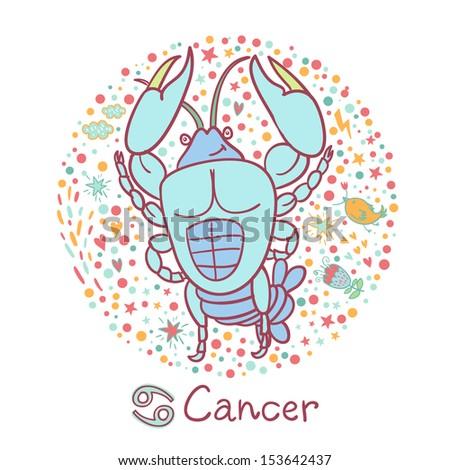 Cute zodiac sign - Cancer. Vector illustration. - stock vector