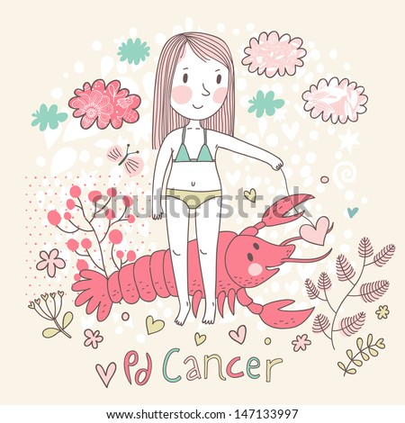 Cute zodiac sign - Cancer. Vector illustration. Little girl feeding big pink crayfish with heart. Background with flowers and clouds. Doodle hand-drawn style - stock vector