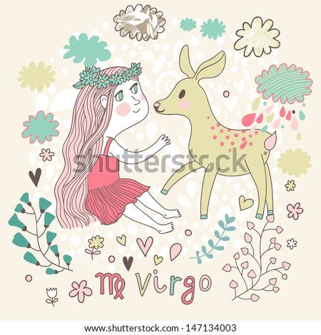 Cute zodiac sign - Virgo. Vector illustration. Little beautiful girl with long hair playing with lovely fawn with in the clouds and flowers. Doodle hand-drawn style.  - stock vector