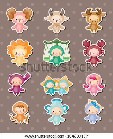 cute zodiac stickers - stock vector
