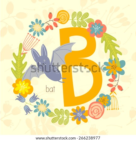 Cute Zoo alphabet, Bat with letter B and floral wreath in vector.  - stock vector