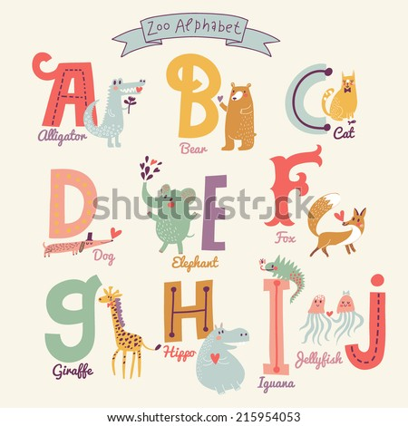 Cute zoo alphabet in vector. A, b, c, d, e, f, g, h, i, j letters. Funny cartoon animals. Alligator, bear, cat, dog, elephant, fox, giraffe,  hippo, iguana, jellyfish in bright colors - stock vector