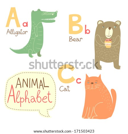 Cute zoo alphabet in vector. A, b, c letters. Funny animals. Alligator, bear, cat. Vector illustration for children's education. - stock vector
