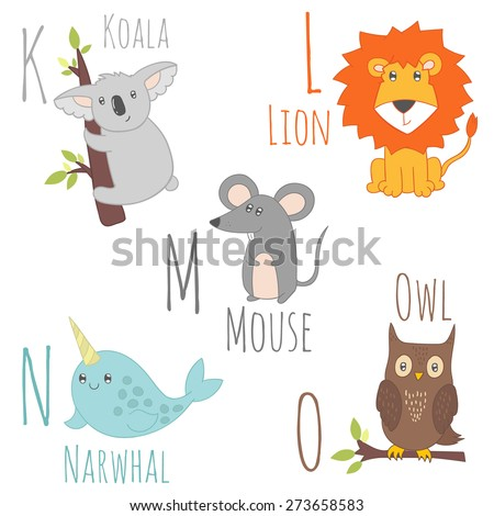 Cute zoo alphabet in vector. K, l, m, n, o letters. Funny cartoon animals. Koala, lion, mouse, narwhal, owl - stock vector