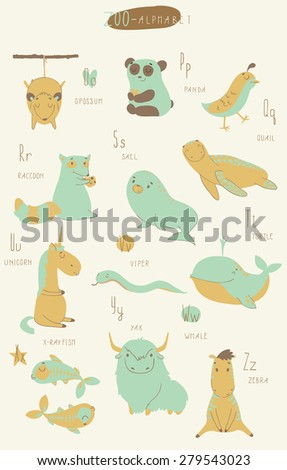 Cute zoo alphabet in vector. O, p, q, r, s, t, u, v, w, x, y, z letters. Isolated illustration of cute animals.  Learn English - stock vector