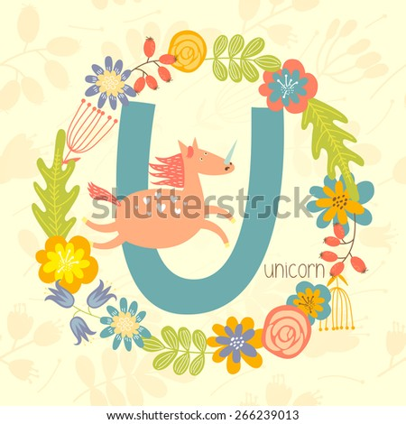 Cute Zoo alphabet, Unicorn with letter U and floral wreath in vector.  - stock vector
