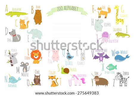Cute zoo alphabet with funny animals in vector  Learn to read. All letters. Isolated characters - stock vector