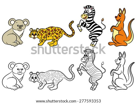 Cute zoo animals collection. Coloring book. Vector illustration. - stock vector