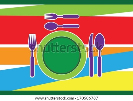 cutlery colorful background - stock vector