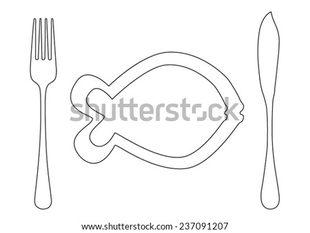 Cutlery flatware fish knife and fork with fish plate black lines - stock vector