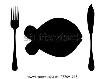 Cutlery flatware fish knife and fork with fish plate black silhouette - stock vector