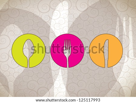 Cutlery icons over white background vector illustration - stock vector