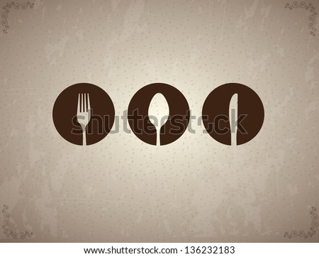 Cutlery label over vintage background vector illustration - stock vector