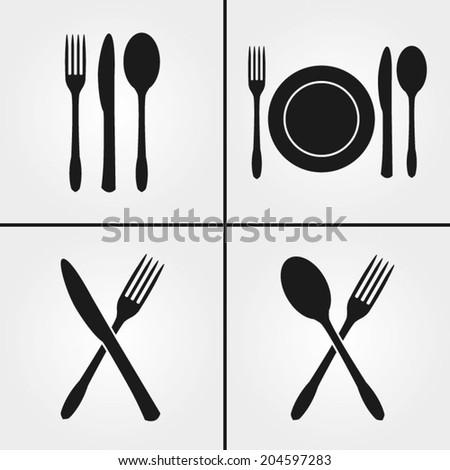 Cutlery Restaurant Icons  - stock vector