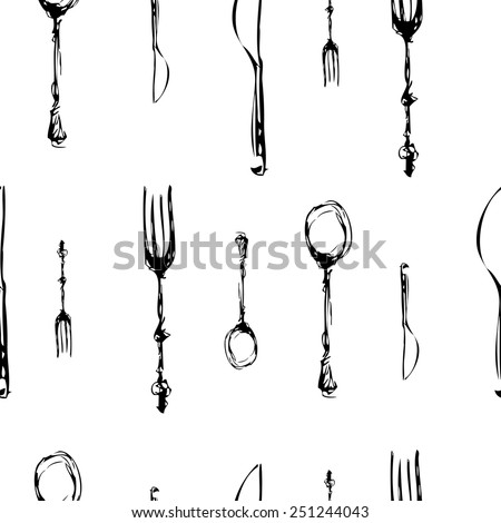 cutlery set . knife , fork, spoon. vector. seamless pattern - stock vector