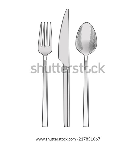 Cutlery set of fork, knife and spoon isolated on a white background. Hand drawn color line art. Cookware retro design. Vector illustration. - stock vector
