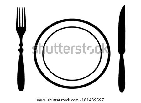 Cutlery set with steak plate - stock vector