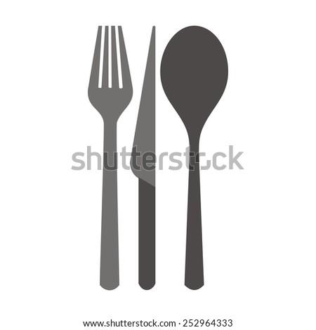 cutlery, silhouette - stock vector