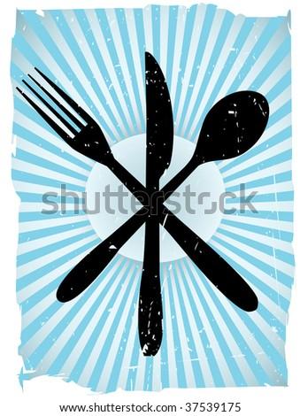 Cutlery Silverware Grunge Vector Background - stock vector