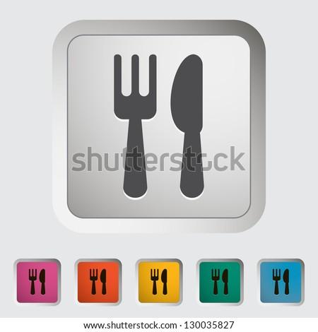 Cutlery single icon. Vector illustration. - stock vector