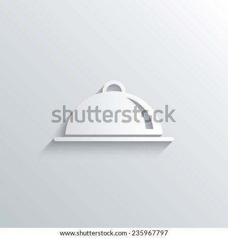 Cutout paper background. Food platter serving sign icon. Table setting in restaurant symbol. White poster with icon. Vector - stock vector