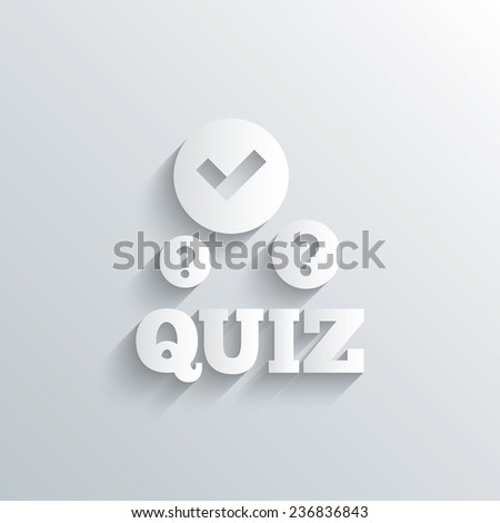 Cutout paper background. Quiz with check and question marks sign icon. Questions and answers game symbol. White poster with icon. Vector - stock vector