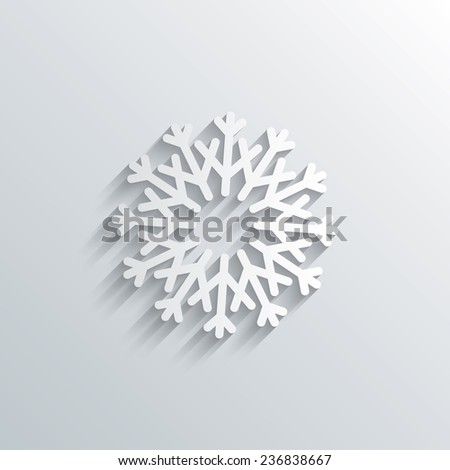 Cutout paper background. Snowflake artistic sign icon. Christmas and New year winter symbol. Air conditioning symbol. White poster with icon. Vector - stock vector