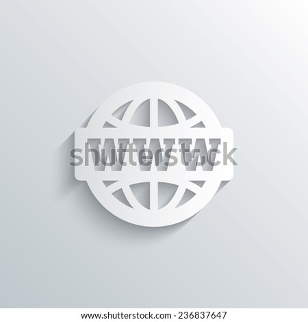 Cutout paper background. WWW sign icon. World wide web symbol. Globe. White poster with icon. Vector - stock vector