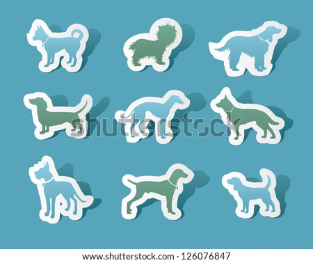 Cutout Paper Dog Silhouettes EPS 8 vector, no open shapes or paths. - stock vector