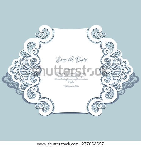 Cutout paper lace frame, greeting card, save the date or wedding invitation template, vector illustration - stock vector