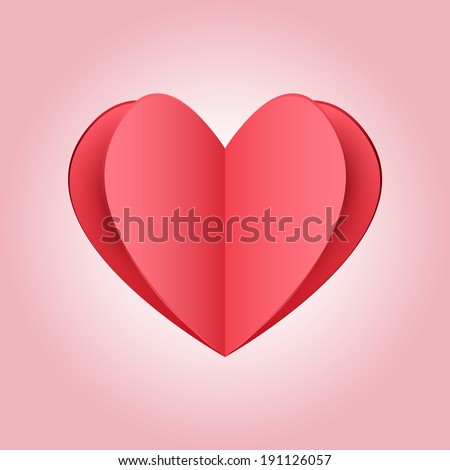 Cutout red paper heart on light pink background - stock vector