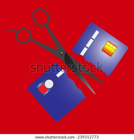 Cutting credit card. - stock vector