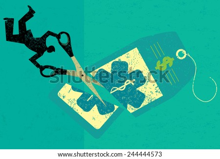Cutting Health Care Costs A businessman cutting the high price of healthcare tag with large scissors over an abstract background.  - stock vector
