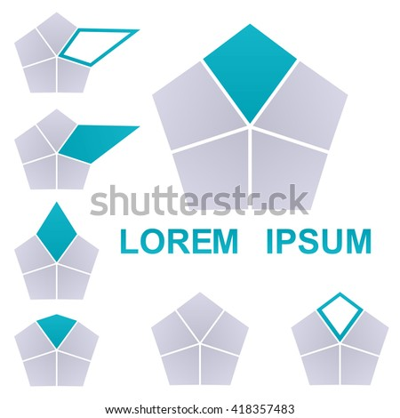 Cyan and grey pentagon logo vector. Pentagon icon symbol design template set. - stock vector
