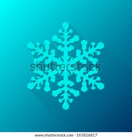 Cyan (blue) abstract Christmas snowflake sign with flat designed shadow and light background for internet sites, web user interfaces (ui) and applications (apps). Vector illustration. Flat design. - stock vector