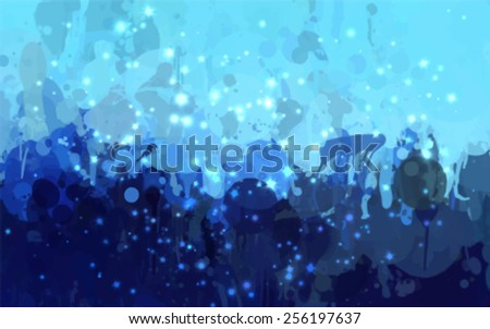 Cyan stars shine brush strokes background. Vector version - stock vector