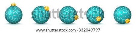 Cyan Vector Christmas Balls Collection with Starlet Texture - Panorama Bauble Set - Star Pattern - X-Mas Decorations - Each Ball is in Extra Vector Layer, Cleanly Separated - Christmas Tree Decor. - stock vector