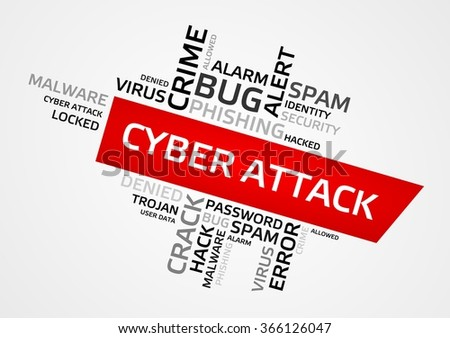 CYBER ATTACK word cloud, tag cloud, vector graphics - security concept - stock vector