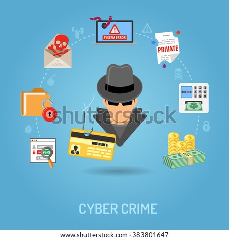Cyber Crime Concept with Flat Icons for Flyer, Poster, Web Site on Theme Phishing. - stock vector