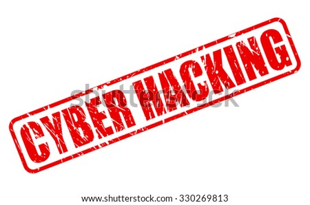 CYBER HACKING red stamp text on white - stock vector